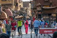 Cairo Traffic (nhblevins) Tags: alley bicycle crowd shopping street people egypt woman cairo traffic city