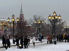 Winter in Moscow... (lyudmila fomina) Tags: mygearandme autofocus canon winterinmoscow moscowkremlin christmasinrussia people snow winter tree street kremlin city park