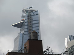 2018 Gray Afternoon Light Hudson Yards Tower NYC 8796 (Brechtbug) Tags: 2018 december gray afternoon light hudson yards tower with triangle balcony platform near 34th street midtown manhattan new york city nyc 12302018 west side construction center cityscape architecture urban landscape scape view cityview shadow silhouette close up skyline skyscraper railroad rail yard train amtrak tracks below grown buildings above