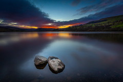 Patchwork sunset (david.travis) Tags: yorkshiredales rock goldenhour england yorkshire landscapephotography water stillness sunset semerwater unitedkingdom dusk