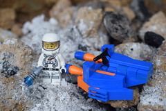 By the crash site. (Working hard for high quality.) Tags: site crash life alien fiction science lego minifigure scene character machine