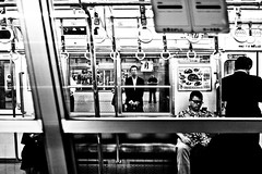 The wait is over.... (Victor Borst) Tags: groen street streetphotography streetlife real reallife realpeople asia asian asians faces face candid travel travelling trip traveling urban urbanroots urbanjungle blackandwhite bw mono monotone monochrome metro subway osaka japan japanese city cityscape citylife fuji fujifilm xpro2 happyplanet asiafavorites