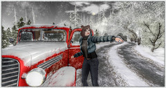 My Baby breakdown... how I meet ... (~ Xantias ~) Tags: sl secondlife forest tree painting raod oldcar winter landscape