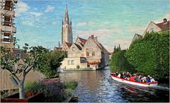 Sur les canaux de bruges, Belgium (claude lina) Tags: claudelina belgium belgique belgië bruges brugge canaux canal barque église church maisons houses