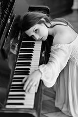 Drama! (piotr_szymanek) Tags: anita anitab woman young portrait face hand studio blackandwhite music piano longhair eyesoncamera nobra 1k 20f 50f 100f 5k 10k 200f