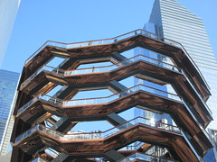 Vessel Stair Case Sculpture Dingus at Hudson Yards 4125 (Brechtbug) Tags: 2019 march visiting the vessel sculpture hudson yards tower near 34th street midtown manhattan new york city nyc 03172019 west side construction center cityscape architecture urban landscape scape view cityview shadow silhouette december close up skyline skyscraper railroad rail yard train amtrak tracks below grown stair stairs buildings above staircase dingus