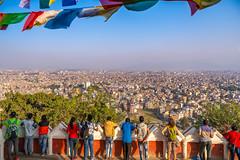 People looking down at Kathmandu Valley from Monkey Temple, Kathmandu, Nepal (CamelKW) Tags: tibet2018 people kathmanduvalley monkeytemple kathmandu nepal