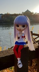 Sunny Day (MlleChantilly) Tags: pullip doll dolls dollphotography dollsphotography obitsu nature river lake water autumn junplanning groove bluehair hellokitty sanrio uncanricky