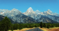 The Long and Winding Road (Suzanham) Tags: wyoming tetons mountains road nature trees travel