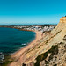 Overview of a cliff and sunny beach near Lagos, Portugal