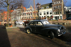 Old Glory (YIP2) Tags: old vintage oldtimer peugeot vehicle car street city urban lines canal water detail details road urbandetail outside shadow schiedam architecture building houses