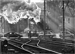 Wulong Crossing (channel packet) Tags: china steam train locomotive sy traffic level crossing coal mine transport monochrome smoke davidhill
