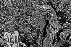 dialogue with little mermaid (t.horak) Tags: little mermaid statue sculpture andersen boy dialogue monochrome park child