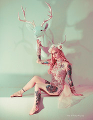 Gilded Fauna IV (Kelly McCarthy Photography) Tags: woman model beautiful beauty conceptual conceptualphotography photography antlers crown headdress antlerheaddress tattoos tattooedmodel inkedmodel rosegold fairytale editorial pastels colorful pinkhair catchycolorspink gold pink golden glitter fashion style glamour tattooed
