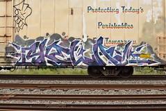 SKELA (TheGraffitiHunters) Tags: graffiti graff spray paint street art colorful benching benched freight train tracks reefer skela