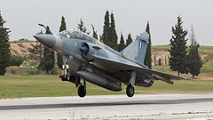 Greek Mirage 2000-5. (spencer_wilmot) Tags: 506 mirage mirage2000 mirage20005 haf hellenicairforce greece greekairforce tanagra ramp runway recovery landing fighter fighterjet combataircraft militaryaviation plane trees camo aviation aircraft airplane arrival approach airbase airforce dassault jet
