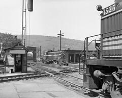 B&M RS3 #1536 at the Bellows Falls Diamond w/ Rutland 207 (Houghton's RailImages) Tags: bellowsfalls bostonmaine alco rs3 rutland diamond railroad bw trains locomotives vermont usa bm