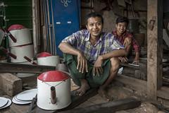 Tinsmiths in Pakokku, Myanmar (Daddi Andrea) Tags: myanmar burma burmese birmania asia southeastasia asian asean travel street streetphotography tourism portrait people