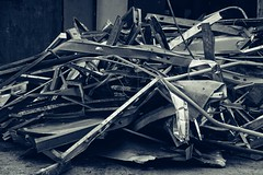 Old Strip Shopping Center   Salvaging Operation   Delk Road & Terrell Mill   Marietta, GA (steveartist) Tags: scrapmetal recyclingmetal pileofscrapmetal monochromaticimage sonydscwx220 snapseed snapseedfilters stevefrenkel mariettaga colortonedphotograph
