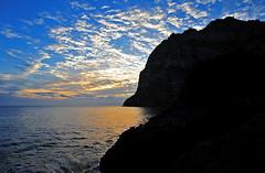 Seascape #21 (daniel0027) Tags: atsunrise jejuisland seongsan seongsanportinjejuisland port mountain clouds sea bluesky southkorea silhouette morninglight