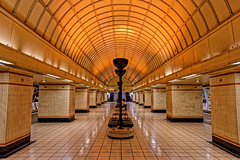 Gants Hill Station (Croydon Clicker) Tags: station railway tube underground metro london centralline ilford essex ornate artdeco platform building architecture lights bench lines