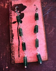 recycled sterling silver green aventurine long dangle earrings 1 (msficklemedia) Tags: handforged artisanjewelry handcrafted earrings recycledmetal stone beads sterling silver missficklemedia