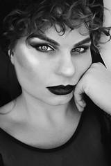 Autoportrait (Chloé Brun-l Photographies) Tags: autoportrait woman girl curlyhair noiretblanc blackandwhite makeup