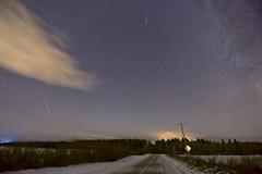11pm west Mars and Geminid (John Andersen (JPAndersen images)) Tags: alberta andromeda canon mars meteor night road sky stars