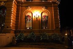 Decorations (nicolemonsees) Tags: saratogasprings saratoga lights wreath winter christmaslights christmas night nightphotography building