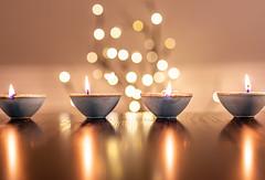 Diyas (Clay lamps) (KennardP) Tags: diwali holidayinguyana holiday religiousholiday hindu deepavali diyas claylamps bokeh lights canoneosr sigma50mmf14dghsmart sigmaartlens