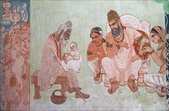 Le sage Ashita reconnaît le futur Bouddha (Temple Mulagandhakuti Vihāra, Sârnâth, Inde)