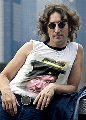 John Lennon Back in the Day, Photographed Wearing His Favorite T-Shirt (ricko) Tags: johnlennon beatle tshirt me hat cheeseburger picjoke