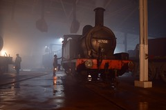 Midland Railway Survivor, Johnson Class 1377 of 1878 No.41708 looking as though she is being prepped for a hard nights work at Stavely Ironworks. Barrow Hill Roundhouse 07 11 2018 Timeline Events (pnb511) Tags: barrowhillroundhouse train track loco workshop maintenance depot steam engine locomotive dirt grime wet reflection dark night timelineevents