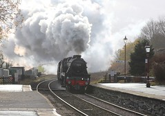 LMS Stanier 5MT No. 45212 &  45157 'The Glasgow Highlander'  with WCRC 1Z50 'The Citadel' approaching Horton in Ribblesdale station on 10th November 2018 © (steamdriver12) Tags: smoke steam coal oil mainline preservation heritage england autumn lms stanier 5mt no 45212 45407 west coast railway company wcrc 1z50 the citadel horton ribblesdale station 10th november 2018 north yorkshire 45157 glasgow highlander