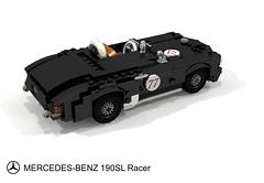 Mercedes-Benz 190SL Racer (lego911) Tags: mercedes benz mercedesbenz 190 190sl sl racer 1950s cassic 1955 w121 convertible roadster lightweight german germany auto car moc model miniland lego lego911 ldd render cad povray