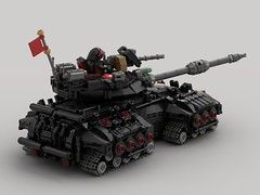 m8.5 Scramp Battle Tank (V2) (demitriusgaouette9991) Tags: lego ldd military army armored powerful tank turret future flag railgun cockpit whitebackground deadly destroyer
