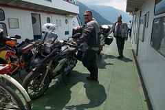 Getting crossed up (Dominic Sagar) Tags: 2017 adriatic alps europe ferry robmitchelhill t100 t150 motorcycle varenna lombardia italy it