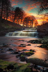 Sunset Cascade (ANG Imagery) Tags: breathtakinglandscapes nationalpark england cascades river flowing longexposure vibrant winter sunset landscape yorkshiredales aysgarthfalls