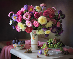 STILL-LIFE WITH A BOUQUET OF ASTERS AND FRUITS (Tatyana Skorokhod) Tags: stilllife bouquet asters flowers fruits grapes plums berries decor