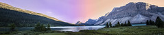 Bow Lake Panorama (ElisitaGayle) Tags: landscape waterscape lake water sunset canada national park banff jasper alberta mountain mountains trees color rock cliff road trip roadtrip travel summer panorama alaska highway