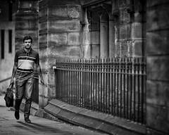 'Stone walls do not a prison make, nor iron bars a cage.' - Richard Lovelace (gro57074@bigpond.net.au) Tags: ironbars stonewalls f14 105mmf14 artseries sigma d850 nikon ironfence iron monochrome monotone mono bw blackwhite be sandstone man candidphotography candidstreet streetphotography street 2018 december cbd sydney bathurststreet