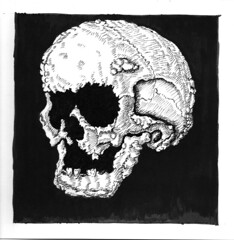 withering tumor 2 (ashley russell 676) Tags: withering tumor skull disintegrate disease cancer pen ink drawing illustration dark horror sickness plague art