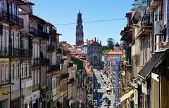 Rua de 31 de Janeiro (Perfect Gnat) Tags: city cityscape urban building street bluesky summer portugal porto oporto torredosclerigos clerigos cars skyline