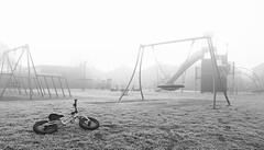 Desolate playground (Ron and Co.) Tags: frost snow ice mist fog haze winter empty blackwhite mono monotone morning cold