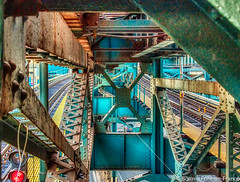 DETAILED VIEW ELEVATED TRAIN STRUCTURE----_2019-01-27 ELEVATED N LINE ASTORIA_D85_3015 (Bonnie Forman-Franco) Tags: red yellow elevatedsubway elevated nyc nycsubway nsubwayline blue subwaytrackrepaircars traintracks travelphotography subwayphotography photoladybon lifeonthetrain trainlandscape cityscape cityscapes architecture buildings queens astoria nikon nikonphotography nikond850 nikon28300 subwaytrainstation streetphotography reflections reflection photography