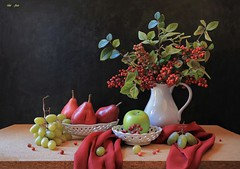 Happy December (Esther Spektor - Thanks for 12+millions views..) Tags: stilllife naturemorte bodegon naturezamorta stilleben naturamorta composition creativephotography art tabletop december bouquet berry branch food fruit apple pear grape cluster pitcher bowl scarf ceramics ambientlight white green red crimson brown black estherspektor canon