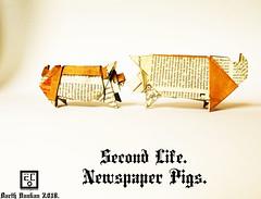 Second Life Newspaper Pigs - Barth Dunkan. (Magic Fingaz) Tags: babi beraz cerdo cochon domuz maiale origamipig pig porc porco schwein svinja varken свинья свиња सूअर หมู 猪 豚 barthdunkan paperfolding origami ecorigami