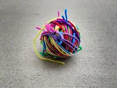 The resulting magic ball of yarn scraps (crochetbug13) Tags: crochet crocheted crocheting scrapyarnball yarnscraps magicball