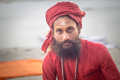 Saraswati Maruti Tiger Baba (andy_8357) Tags: turban saraswati maruti tiger baba young ganges varanasi india uttar pradesh hindu hinduism sadhu beard moustache clear eyes strong red sony ilce6000 ilcenex man canon fd 50mm f14 6000 a6000 alpha portraiture street photography