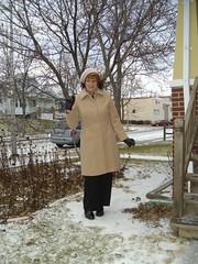 Winter--Six Years Ago (Laurette Victoria) Tags: snow winter coat hat woman laurette pants gloves